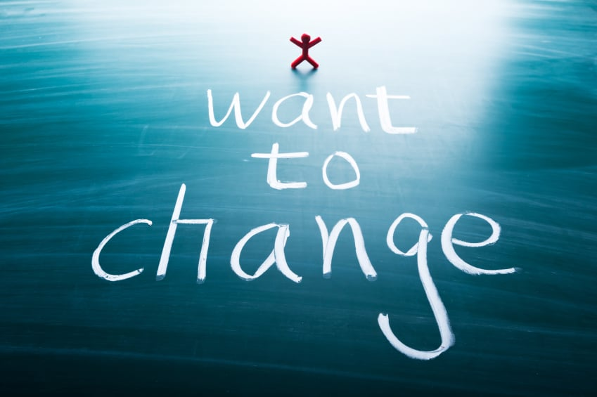 I want to change, colorful conceptual words on blackboard.